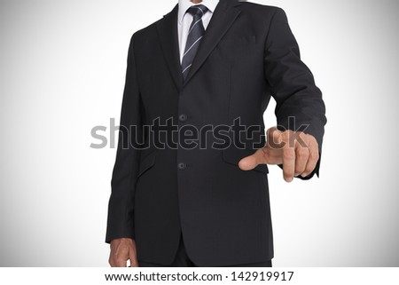 Buisnessman pointing ahead on white background with vignette