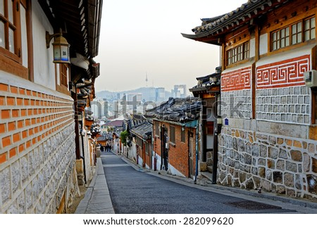 Bukchon Hanok historic district in Seoul at sunset, South Korea. - stock photo