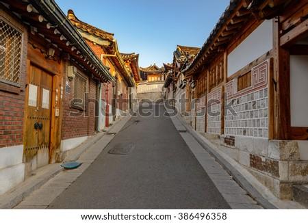 Bukchon Hanok Village,Traditional Korean style architecture in Seoul,Korea - stock photo