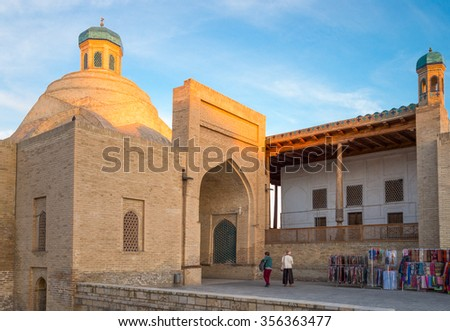 Bukhara, Uzbekistan - April 16 2014: The Taqi Sarrafon market in the old city center