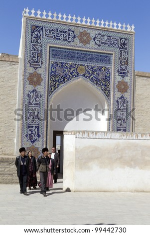 BUKHARA, UZBEKISTAN - MARCH 22: Unidentified people visit the Temur's Palace on March 22, 2012 in Bukhara, Uzbekistan. Bukhara is part of UNESCO World Heritage.