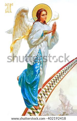 BUKI, UKRAINE - MAY 01, 2015. Church of St. Eugene, interior.Angel painting in the church, Archangel Gabriel - stock photo