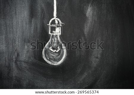 bulb blackboard and space for you  - stock photo