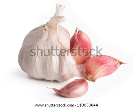 Bulb / Head of garlic with cloves isolated on white background with shadow - stock photo