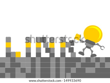 bulb lamb cartoon character with business activity - stock photo