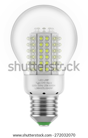 Bulb lamp led saving energy efficient safety isolated white background eco green - stock photo
