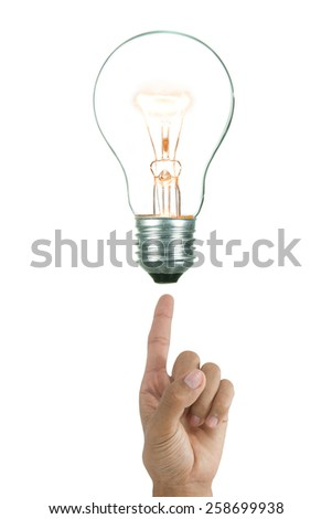 Bulb light on Fingertip background - stock photo