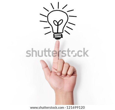 Bulb light on Fingertip on white background - stock photo