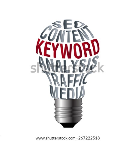 Bulb of search engine optimization content keyword analysis traffic media on white background. - stock photo