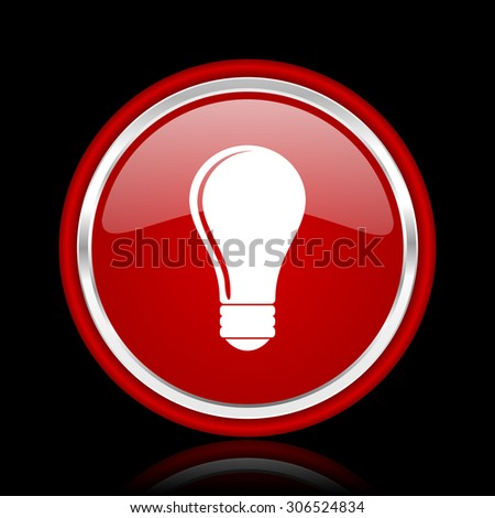 bulb red glossy web icon chrome design on black background with reflection   - stock photo