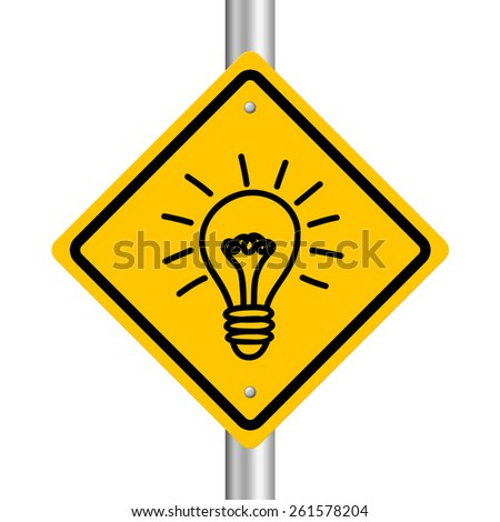 Bulb road sign is isolated on white background. - stock photo