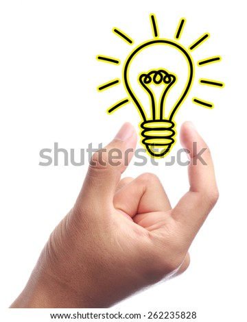 Bulb sign is holden by hand with white background isolated. - stock photo