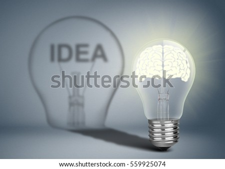 Bulb with brain and shadow, thinking concept