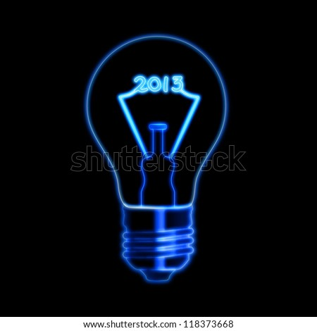 bulb with glowing filament ciphers makes year 2013 over black background - stock photo