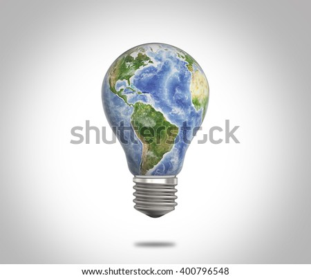 Bulb with Reflection of planet Earth inside it. Elements this image are furnished by NASA - stock photo