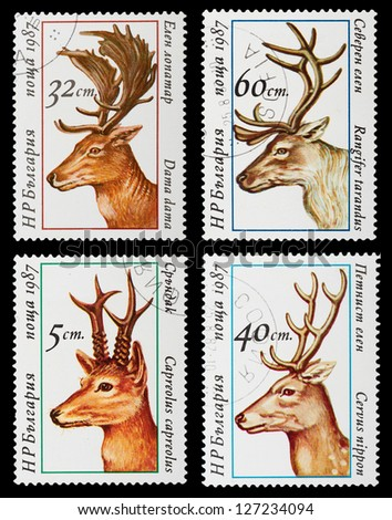 BULGARIA - CIRCA 1987: A set of postage stamps printed in BULGARIA shows wild animals - deers, series, circa 1987