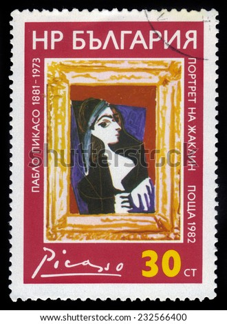 "BULGARIA - CIRCA 1982: a stamp from Bulgaria shows a  painting by artist Pablo Picasso ""Jacqueline Rock"", circa 1982 - stock photo"