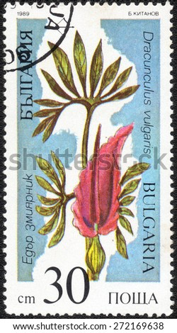 "Bulgaria - CIRCA 1989: a stamp printed in Bulgaria shows a series of images ""spring flowers"", circa 1989  - stock photo"