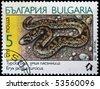 BULGARIA - CIRCA 1989: A stamp printed in Bulgaria shows Sand Boa - Eryx jaculus turcicus, circa 1989 - stock photo