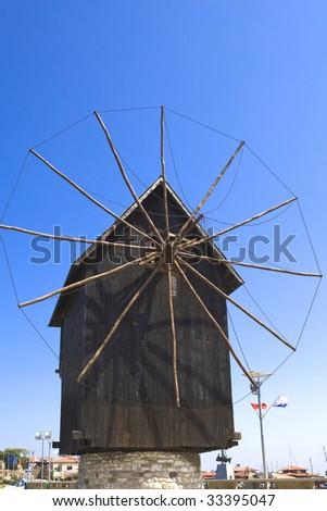 Bulgaria, city Nesebr- under the aegis UNESCO , old wooden mill - stock photo
