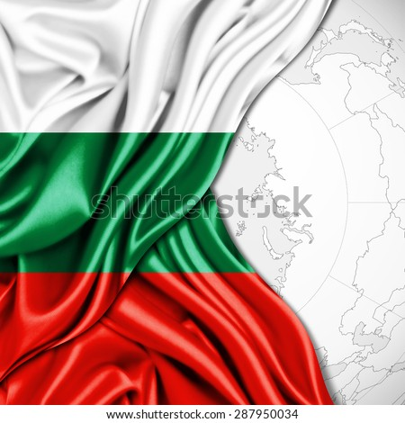 Bulgaria flag of silk and world map background
