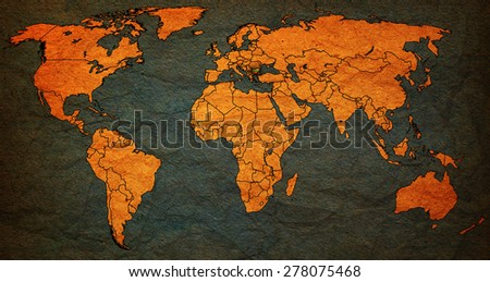 bulgaria flag on old vintage world map with national borders - stock photo