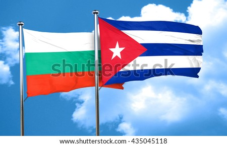 bulgaria flag with cuba flag, 3D rendering
