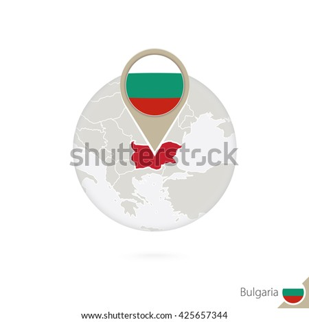 Bulgaria map and flag in circle. Map of Bulgaria, Bulgaria flag pin. Map of Bulgaria in the style of the globe. Raster copy. - stock photo