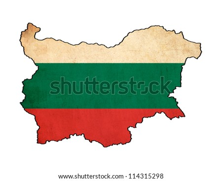 Bulgaria map on Bulgaria flag drawing ,grunge and retro flag series - stock photo