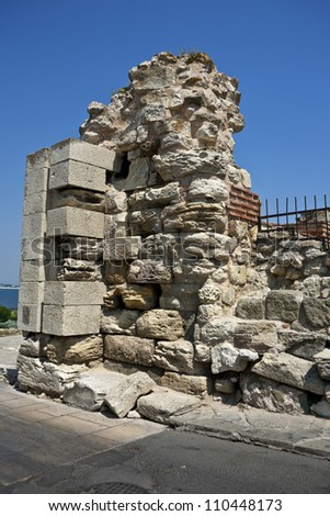 Bulgaria. Old Nesebor. Ancient stone walls of the city