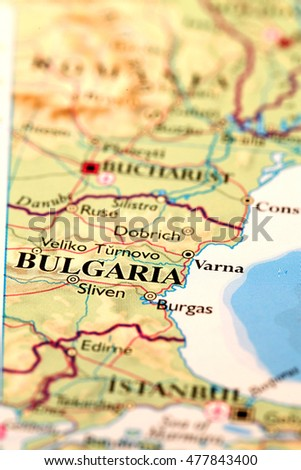 Bulgaria on atlas world map