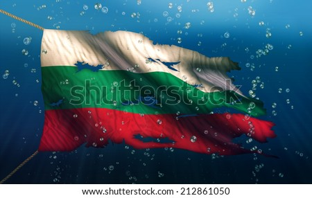 Bulgaria Under Water Sea Flag National Torn Bubble 3D - stock photo