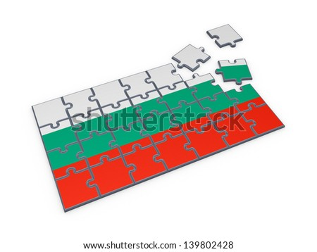Bulgarian flag made of puzzles.Isolated on white.3d rendered. - stock photo