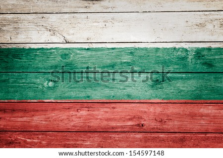 bulgarian flag on wood texture background - stock photo