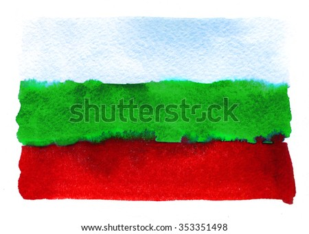 Bulgarian flag painted with watercolors on white background - stock photo