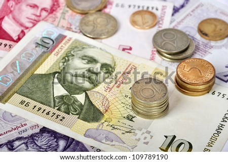 Bulgarian money close up.Ten levs and some coins. Shallow dof. Focus on coins - stock photo
