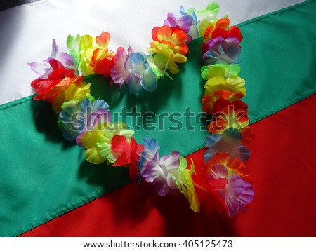 Bulgarian National Flag and Hawaiian Flower Necklace