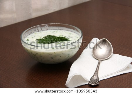 "Bulgarian traditional yogurt cold soup ""Tarator"" with silver spoon"
