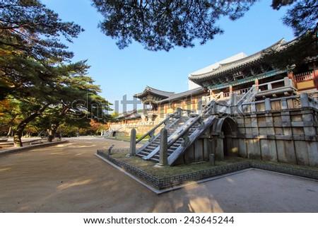Bulguksa temple during autumn season in Gyeongju, Korea - stock photo