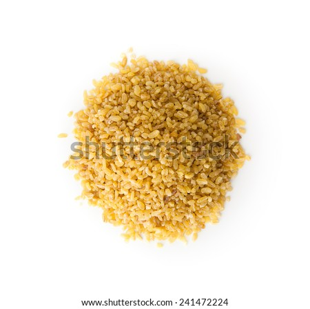 Bulgur Wheat  with copy space , isolated on white - stock photo
