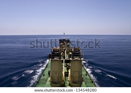Bulk cargo ship underway viewed from bridge