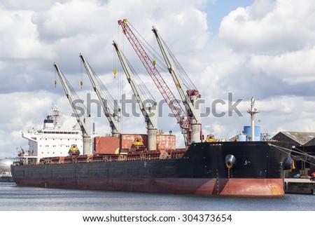 Bulk carrier, freight vessel - stock photo
