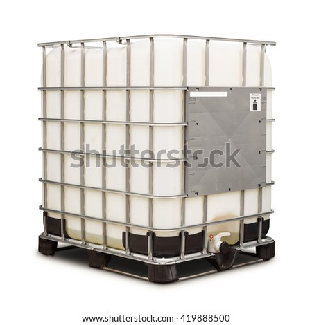 Bulk plastic oil or liquid containers with metallic cage, isolated on white background with clipping path - stock photo