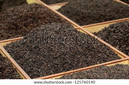 Bulk tea on the Tea Market in China - stock photo