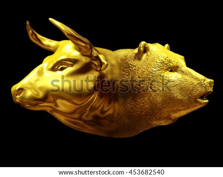 Bull and bear as a Janus head in gold, a symbol of the forces on the stock exchange, 3D Illustration