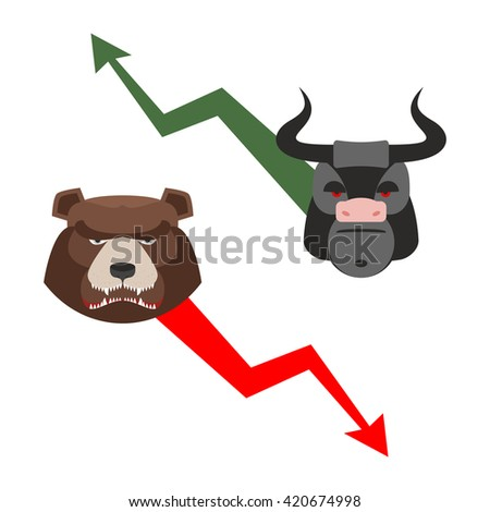 Bull and bear. Traders allegory. Green up arrow-increase shares. Red down arrow drop quotes. Angry bear and a ferocious Bull. Set of icons for Exchange players - stock photo