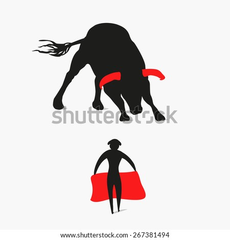 bull and matador, bullfighter,  - stock photo