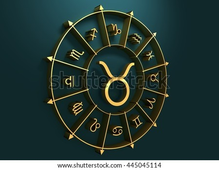 Bull astrology sign. Golden astrological symbol. 3D rendering