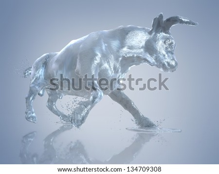 Bull in motion, the bull out of the water - stock photo