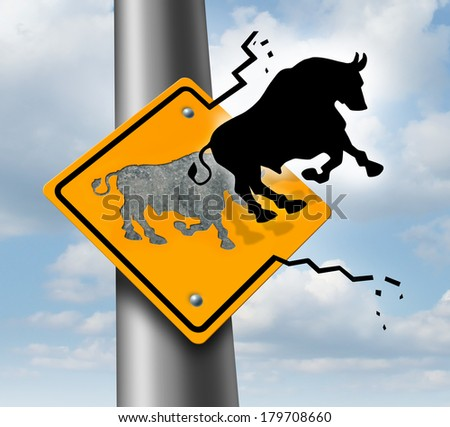 Bull market rise business and finance concept for wealth growth as a yellow traffic sign with a bull icon breaking out of the metal  escaping to higher levels of economic success and profitability. - stock photo